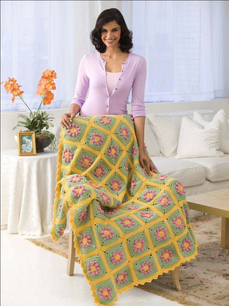 Country Flowers Throw Crochet Pattern from Red Heart Yarn ...
