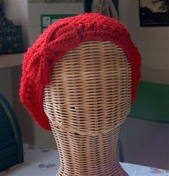 Puff Stitch Crochet Beret with Bow
