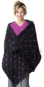 Cabled Heather Wrap