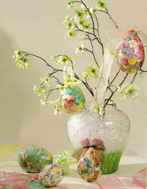 Floral Decoupaged Easter Eggs