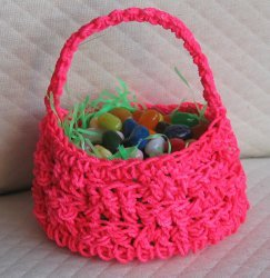 Pink Crochet Easter Basket