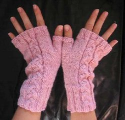 Basic Cabled Fingerless Gloves | AllFreeKnitting.com
