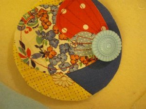 Scrap Fabric and Button Pin