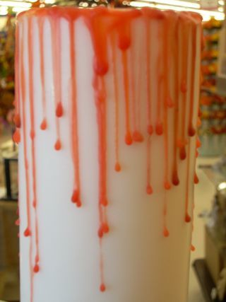 Homemade Halloween Decorations Bloody Pillar Candle And