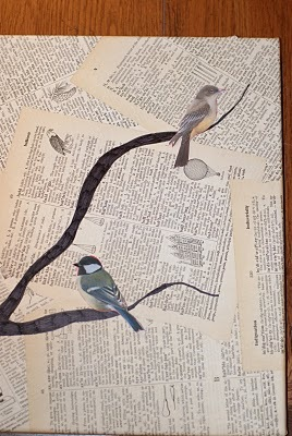 Bird And Text Collage Wall Art