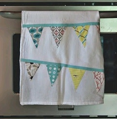 Scrappy Bunting Tea Towel