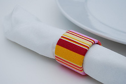 Recycled Fabric Napkin Rings from Saran Wrap Tubes
