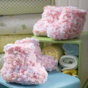 Fluffy Crocheted Cotton Candy Booties