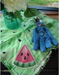 Dyed Napkins With Watermelon Applique