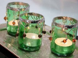 Beaded Glass Votive Candle Holder