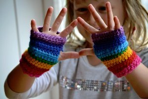 Rainbow Mitts for Maia