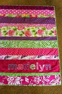 Easy Personalized Strip Quilt For Baby Favequilts Com