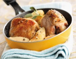 Chicken Thighs With Honeyed Apples