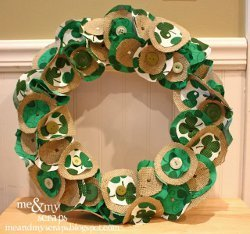 Green Clover Burlap Wreath