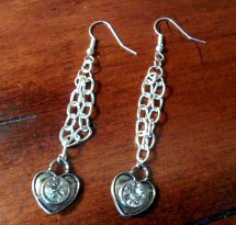 Diy Chained Heart Valentine Earrings Allfreejewelrymaking Com