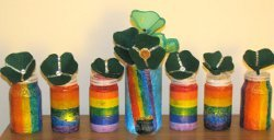 Recycled Jars Rainbow Luminaries