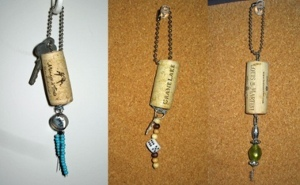 Beaded Wine Cork Keychains
