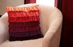 Plum Peachy Ruffled Pillow