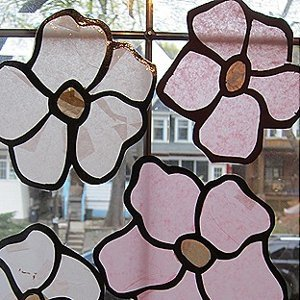 Stained Glass Magnolia Flowers