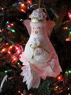 Recycled Light Bulb Angel Ornament
