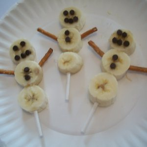 Banana Snowmen on a Stick