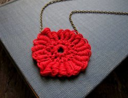 Scarlet Coiled Medallion Necklace