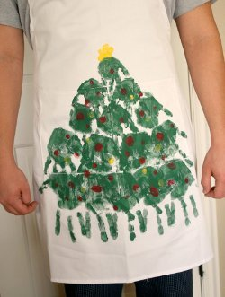 Hand Painted Christmas Tree Apron