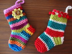 free christmas crochet patterns dont get much cuter than these multicolored miniature christmas stockings these can be used for a variety of things this - Free Crochet Christmas Stocking Pattern