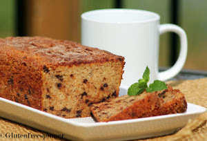 Cinnamon Crusted Banana Bread with Mini Chocolate Chips