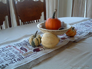 Thanksgiving Word Art Table Runner