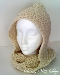 Crochet Scarf Patterns Worsted Weight : Hooded Infinity Scarf AllFreeCrochet.com