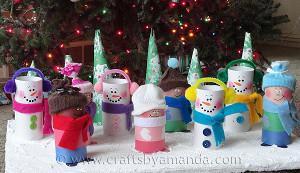 Recycled Paper Tube Christmas Display