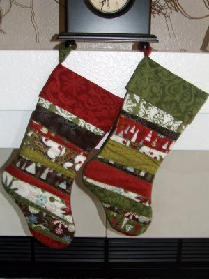 His And Hers Scrappy Christmas Stocking Quilt Patterns FaveQuilts Enchanting Quilted Christmas Stocking Pattern
