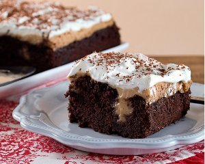 Chocolate Peanut Butter Pudding Poke Cake