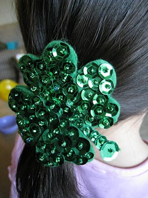 Sequin Shamrock Hair Tie