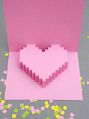 Pixelated Pop-up Heart