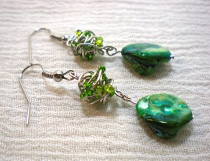 Tangled Wire Bead Earrings