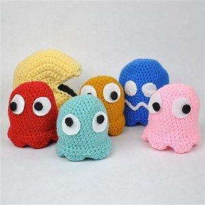 cute crocheted pac man and ghosts allfreecrochet com