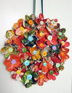 Recycled Magazine Floral Wreath Easy Paper Craft