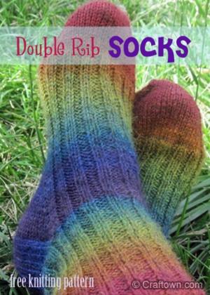 Double Rib Rainbow Socks Allfreeknitting