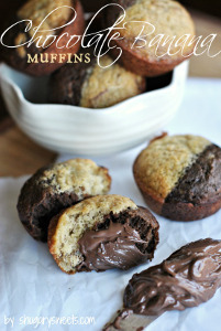 Side-By-Side Chocolate Banana Muffins