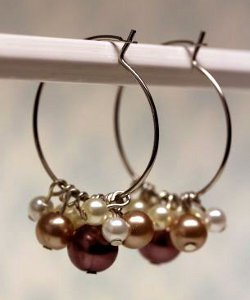 Champagne Pearl Cluster Hoops