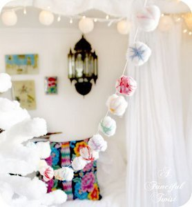 Colorful Cotton Ball Garland