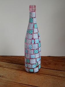 Decoupaged Mosaic Wine Bottle Favecrafts Com