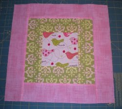 Feminine Pink and Green Quilt Block