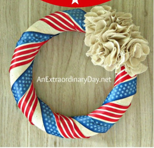 Easy Patriotic Ribbon Wreath