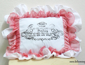 French Typography Ruffled Pillow