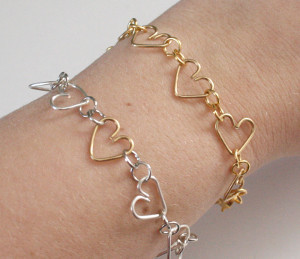 chain of hearts wire bracelet - Valentines Day Bracelet