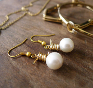 Pearls and Wire Earrings