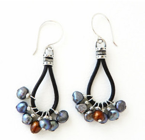 Pearl Fringe Leather Earrings